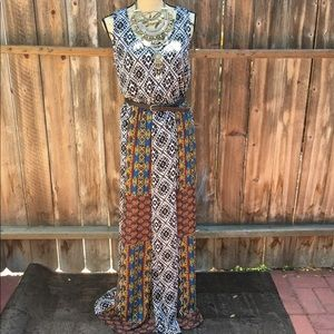 NWT Forever 21 - Tribal Print Maxi Dress with Belt